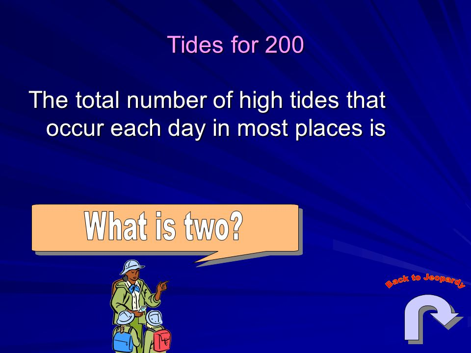 Tides for 200 The total number of high tides that occur each day in most places is