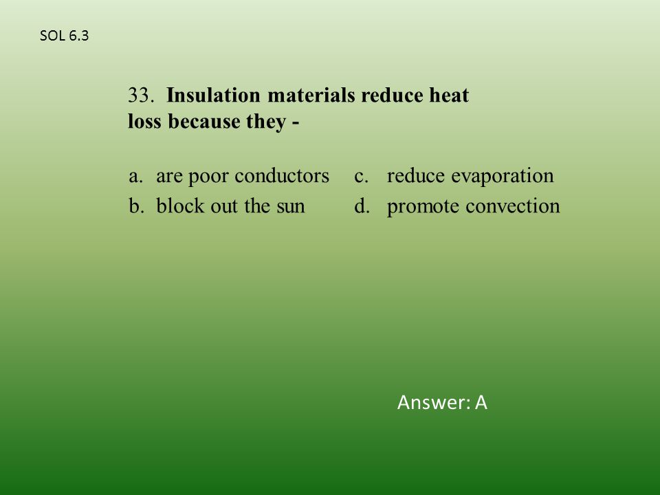 a.are poor conductorsc.reduce evaporation b.block out the sund.promote convection 33.