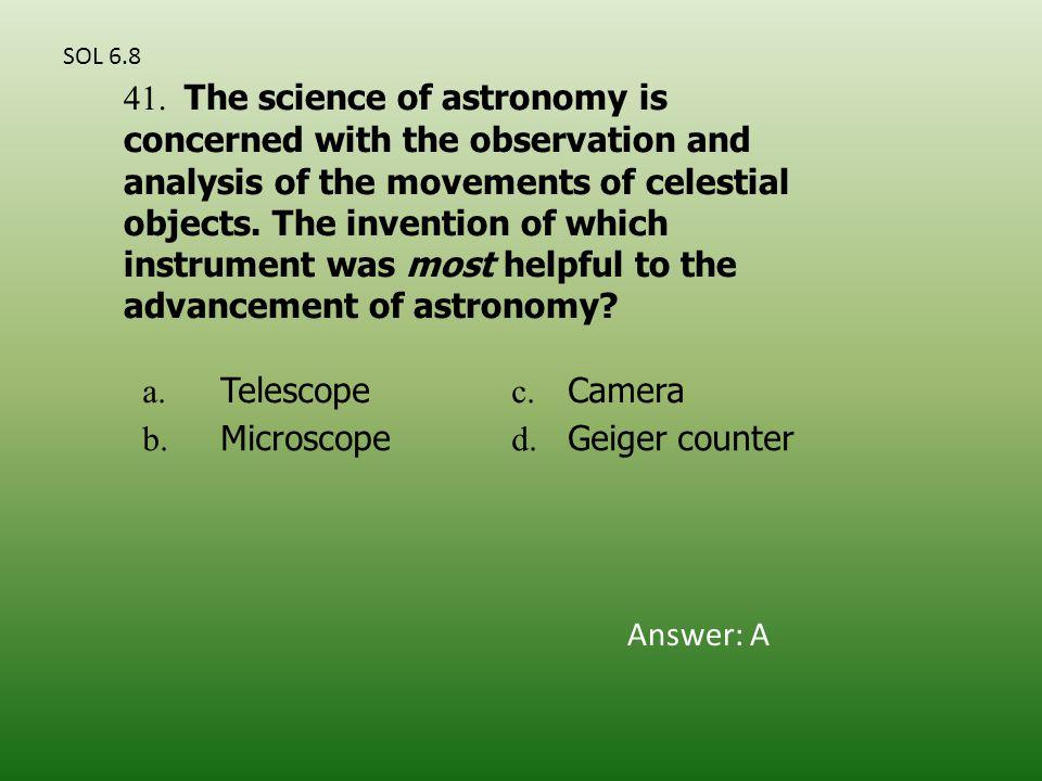 a. Telescope c. Camera b. Microscope d. Geiger counter 41.