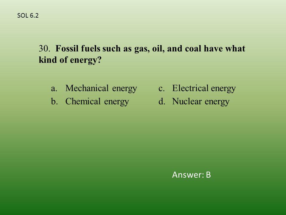 a.Mechanical energyc.Electrical energy b.Chemical energyd.Nuclear energy 30.