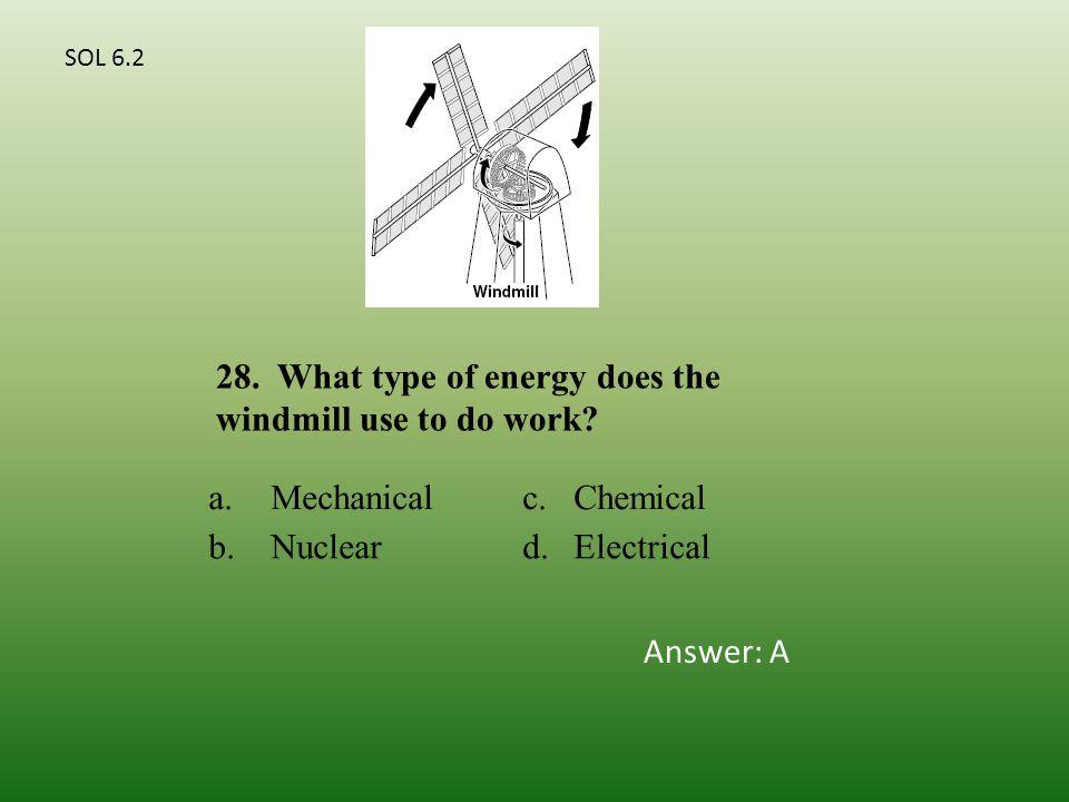 a.Mechanicalc.Chemical b.Nucleard.Electrical 28.