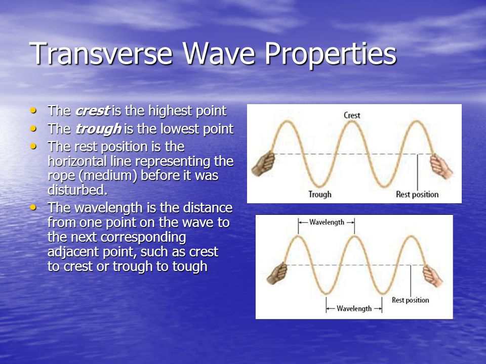 Wavelength and Frequency Wavelength is the distance between two corresponding parts of a wave.