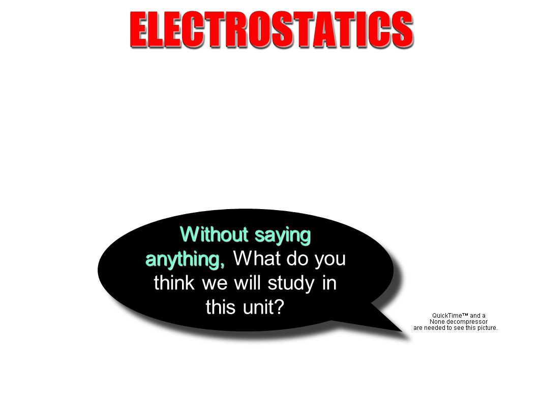 ELECTROSTATICSELECTROSTATICS Without saying anything, What do you think we will study in this unit