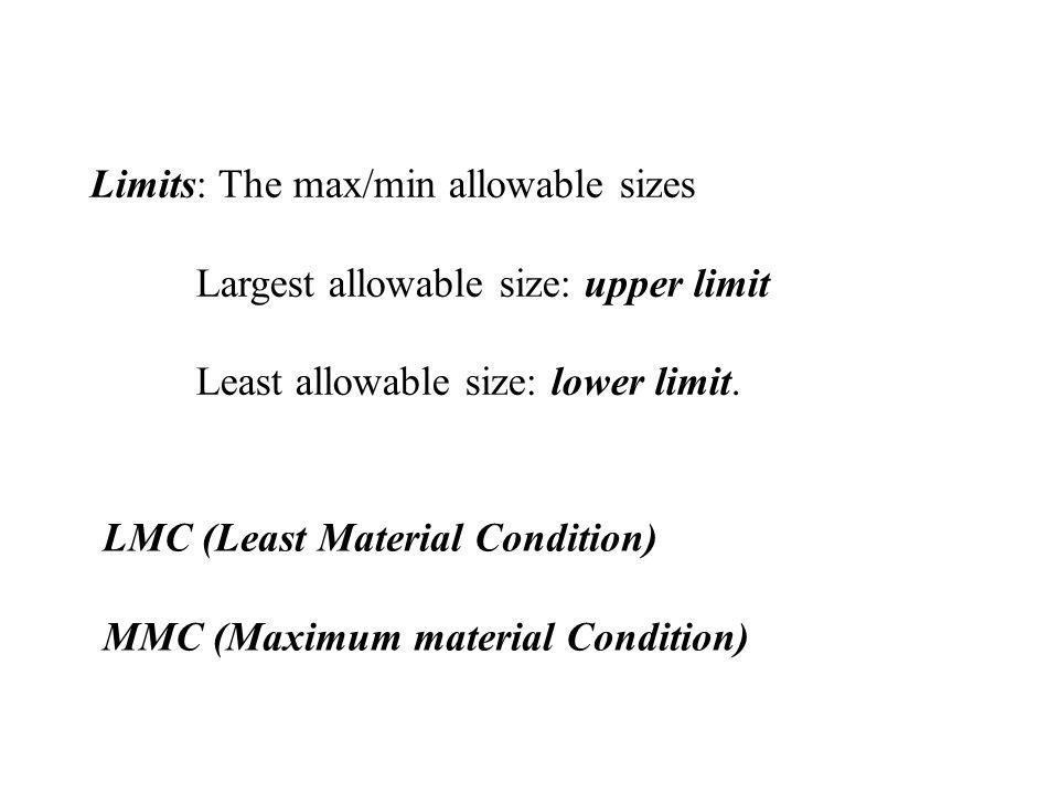 Limits: The max/min allowable sizes Largest allowable size: upper limit Least allowable size: lower limit.