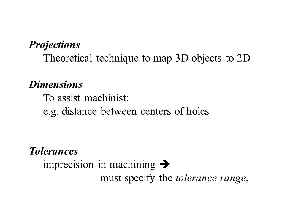 Projections Theoretical technique to map 3D objects to 2D Dimensions To assist machinist: e.g.