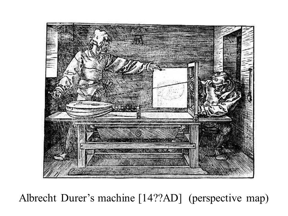 Albrecht Durer's machine [14 AD] (perspective map)