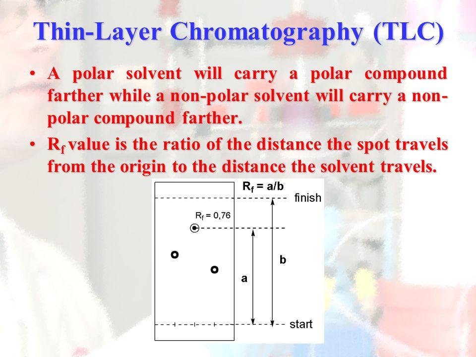 A polar solvent will carry a polar compound farther while a non-polar solvent will carry a non- polar compound farther.A polar solvent will carry a polar compound farther while a non-polar solvent will carry a non- polar compound farther.