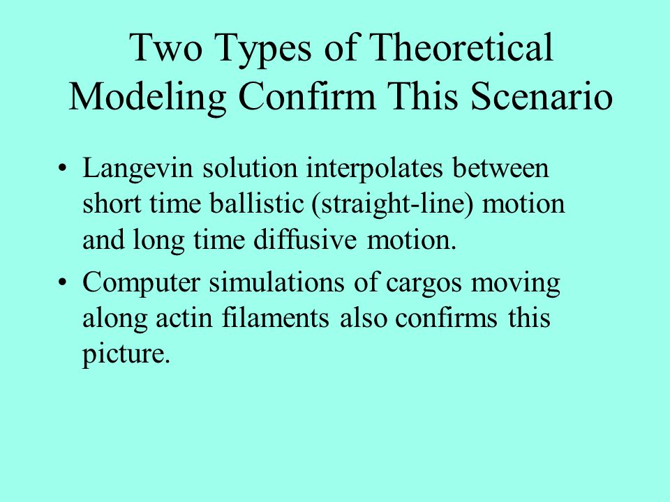 Two Types of Theoretical Modeling Confirm This Scenario Langevin solution interpolates between short time ballistic (straight-line) motion and long ti