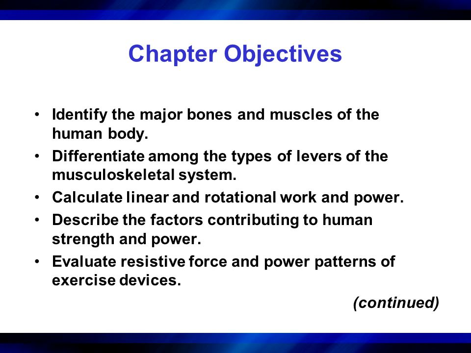 Chapter Objectives (continued) Recommend ways to minimize injury risk during resistance training.
