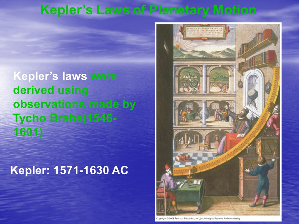 Kepler's Laws of Planetary Motion Kepler's laws were derived using observations made by Tycho Brahe(1546- 1601) Kepler: 1571-1630 AC