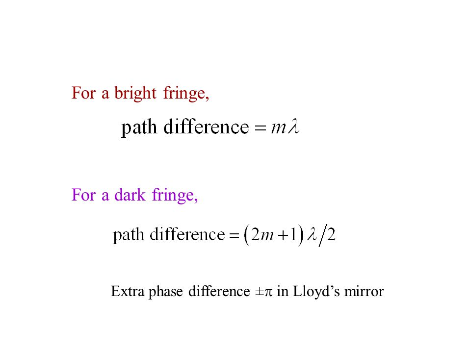 For a bright fringe, For a dark fringe, Extra phase difference ±  in Lloyd's mirror