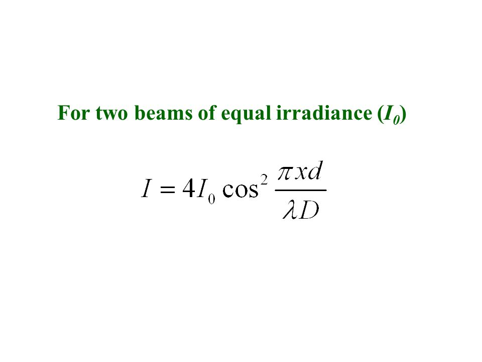For two beams of equal irradiance (I 0 )