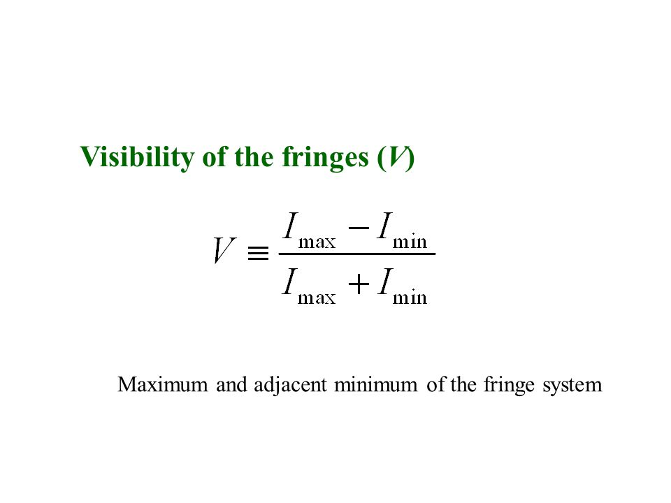 Visibility of the fringes (V) Maximum and adjacent minimum of the fringe system
