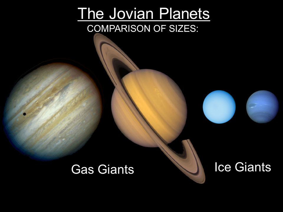 The Jovian Planets COMPARISON OF SIZES: Gas Giants Ice Giants