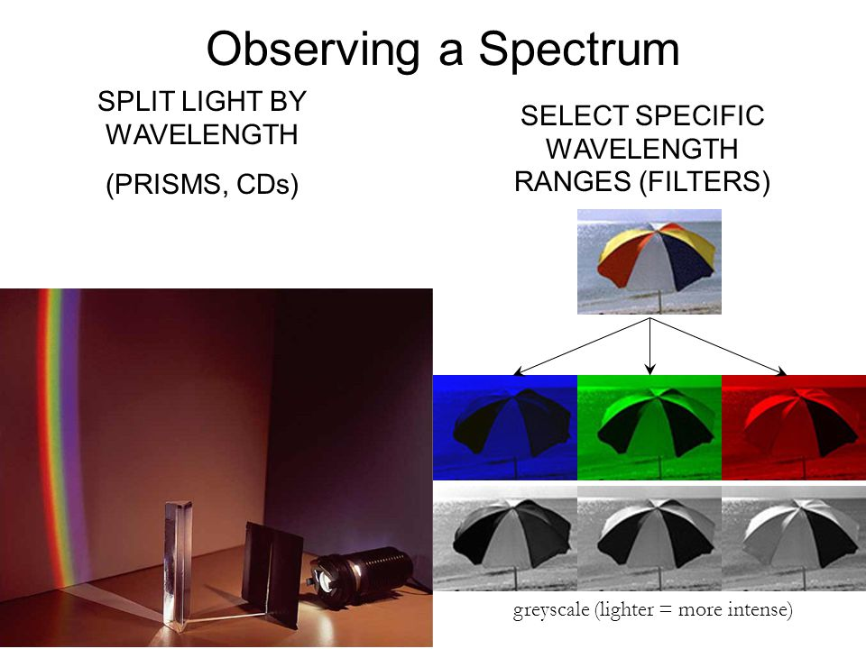 Observing a Spectrum SELECT SPECIFIC WAVELENGTH RANGES (FILTERS) SPLIT LIGHT BY WAVELENGTH (PRISMS, CDs) greyscale (lighter = more intense)