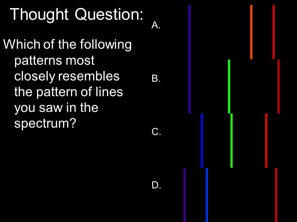 Thought Question: Which of the following patterns most closely resembles the pattern of lines you saw in the spectrum.