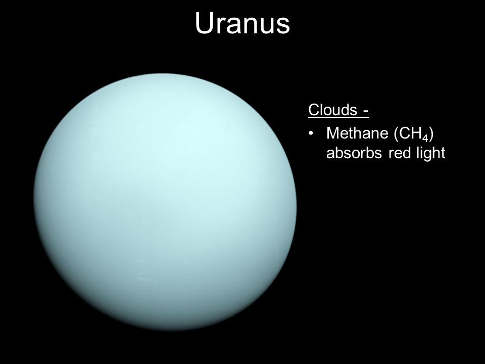 Uranus Clouds - Methane (CH 4 ) absorbs red light