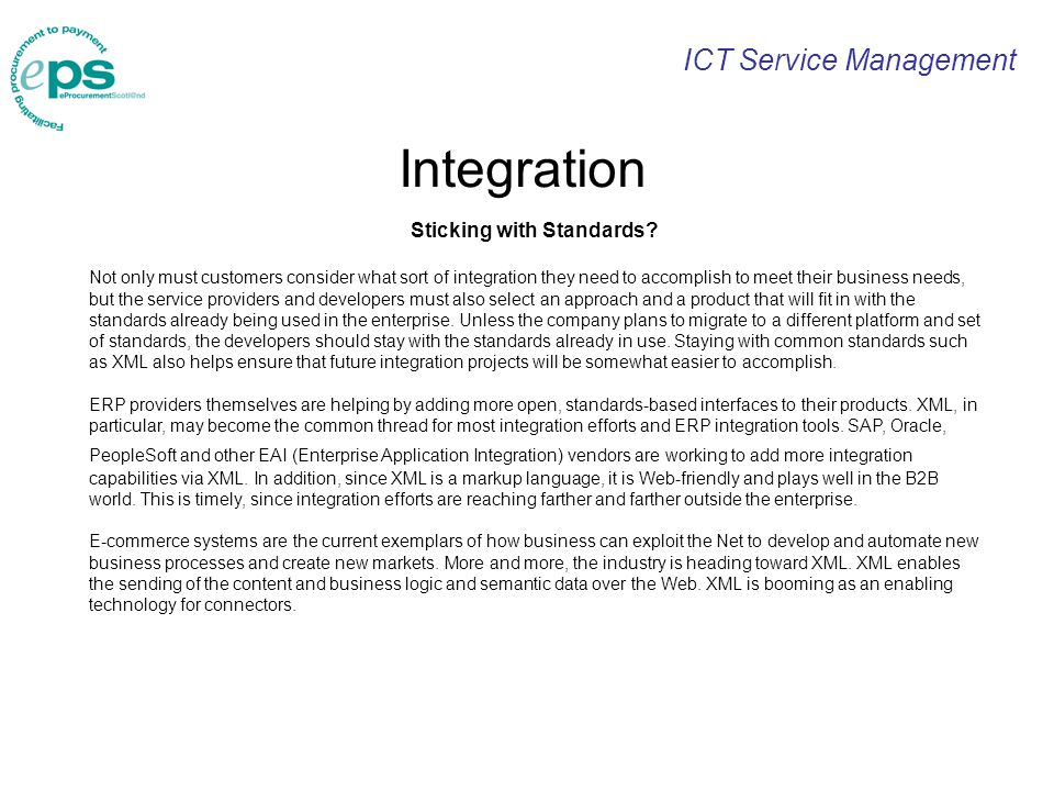 ICT Service Management Integration Sticking with Standards.
