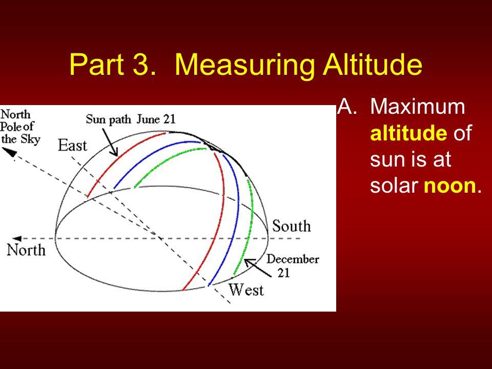 Part 3. Measuring Altitude A.Maximum altitude of sun is at solar noon.
