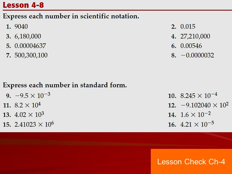 Lesson Check Ch-4