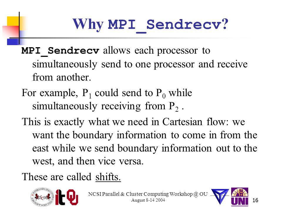 NCSI Parallel & Cluster Computing Workshop @ OU August 8-14 2004 16 Why MPI_Sendrecv .