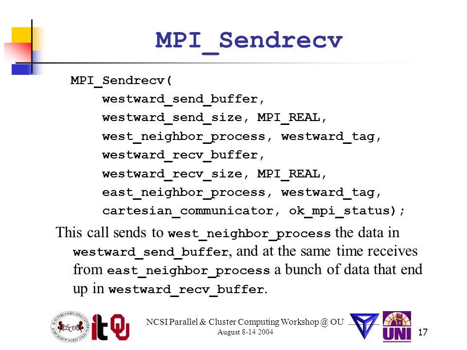 NCSI Parallel & Cluster Computing Workshop @ OU August 8-14 2004 17 MPI_Sendrecv MPI_Sendrecv( westward_send_buffer, westward_send_size, MPI_REAL, west_neighbor_process, westward_tag, westward_recv_buffer, westward_recv_size, MPI_REAL, east_neighbor_process, westward_tag, cartesian_communicator, ok_mpi_status); This call sends to west_neighbor_process the data in westward_send_buffer, and at the same time receives from east_neighbor_process a bunch of data that end up in westward_recv_buffer.