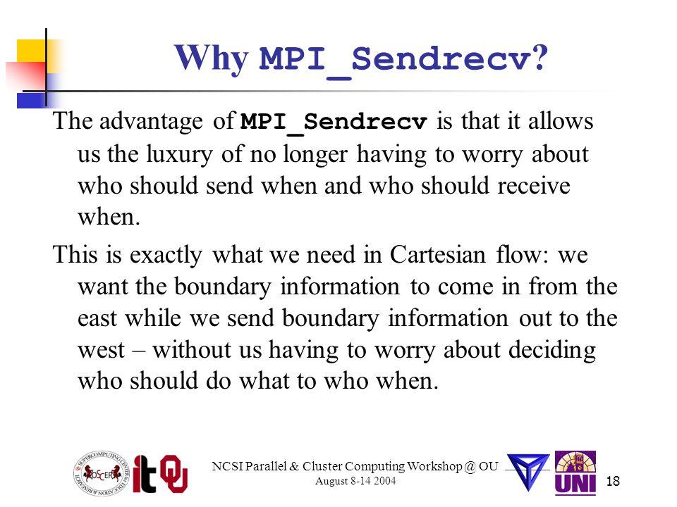 NCSI Parallel & Cluster Computing Workshop @ OU August 8-14 2004 18 Why MPI_Sendrecv .