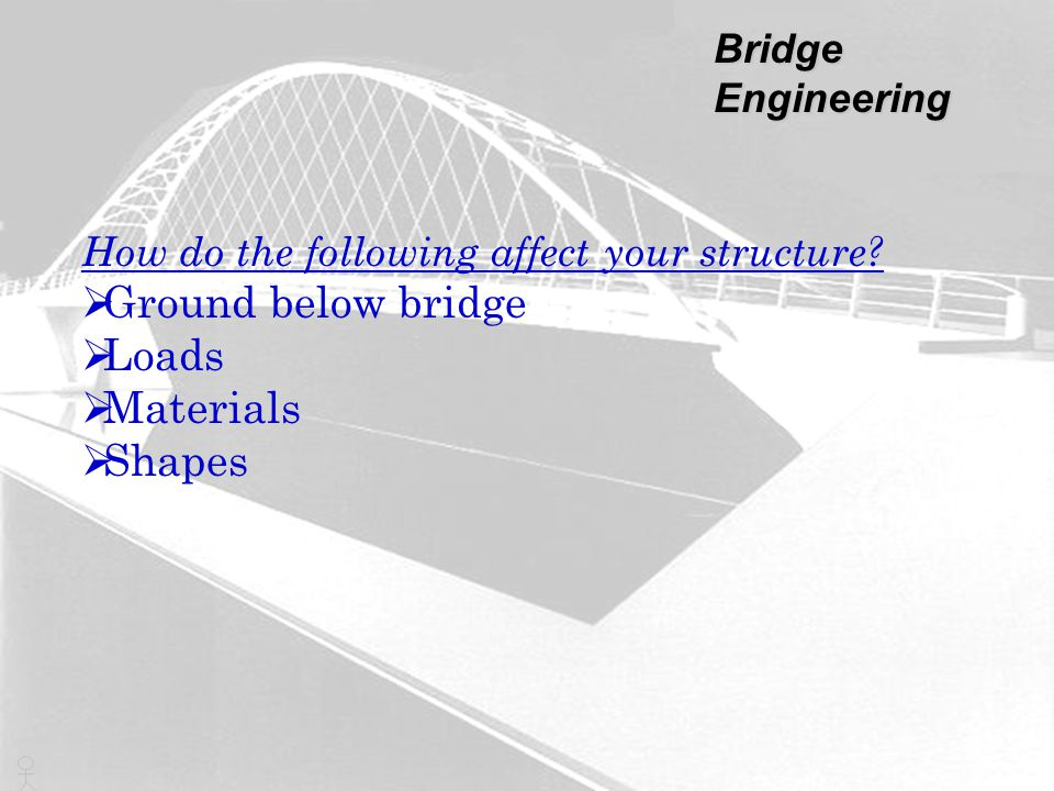 How do the following affect your structure?  Ground below bridge  Loads  Materials  Shapes Bridge Engineering