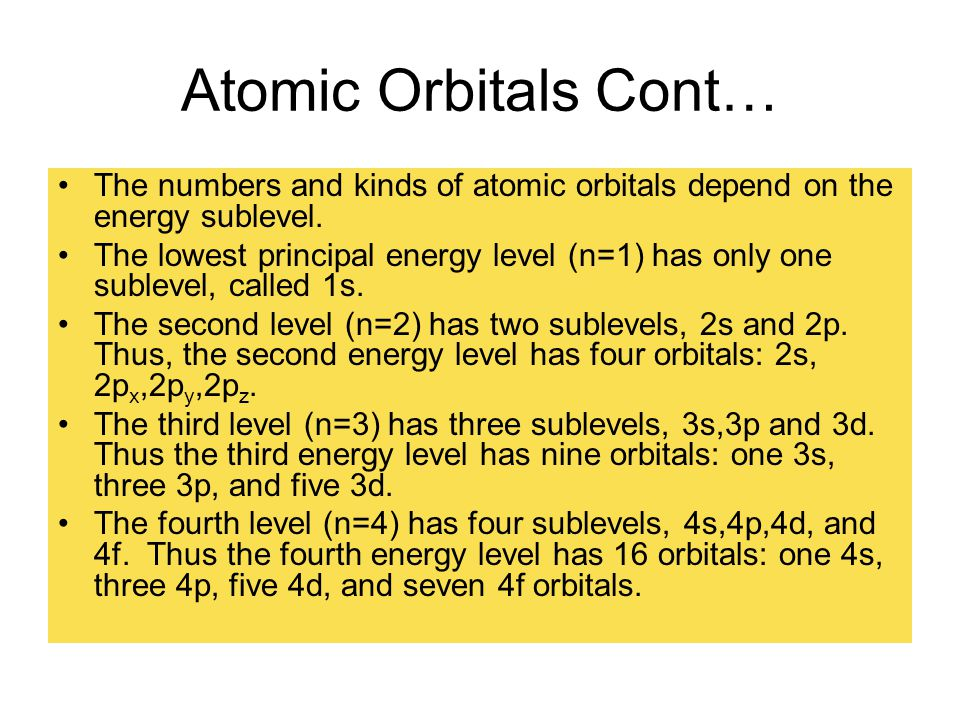 Atomic Orbitals Cont… The numbers and kinds of atomic orbitals depend on the energy sublevel. The lowest principal energy level (n=1) has only one sub