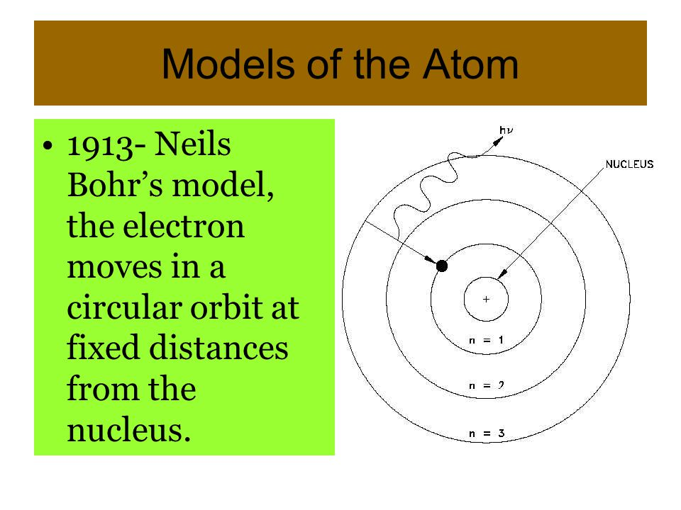 Models of the Atom 1913- Neils Bohr's model, the electron moves in a circular orbit at fixed distances from the nucleus.
