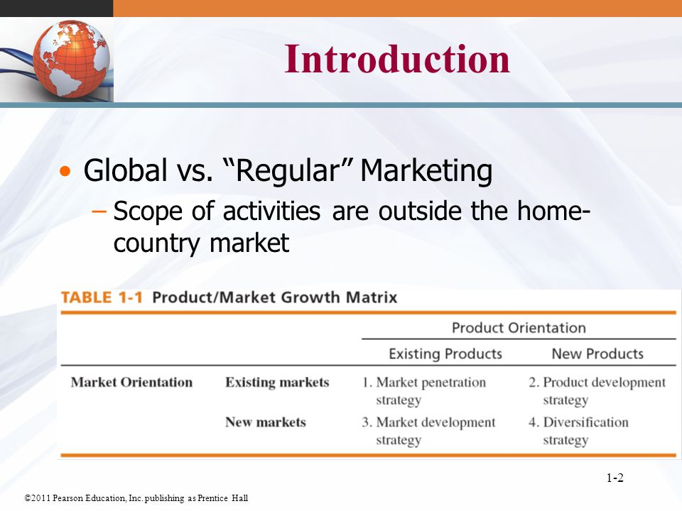 ©2011 Pearson Education, Inc. publishing as Prentice Hall 1-2 Introduction Global vs.