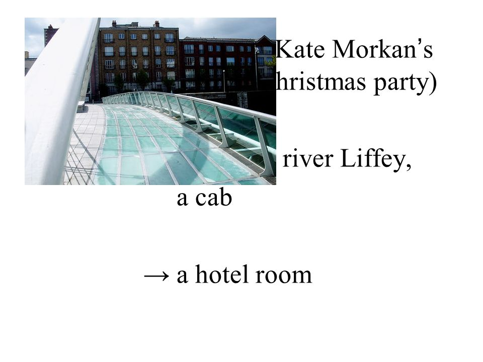Setting → Julia and Kate Morkan ' s house (during their Christmas party) → along the river Liffey, a cab → a hotel room