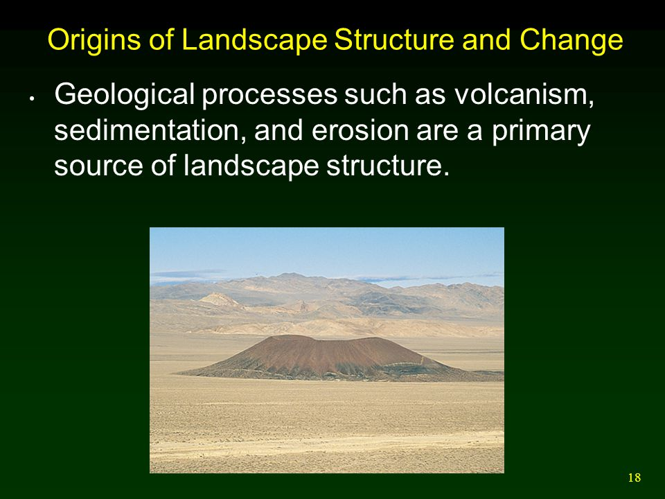 18 Origins of Landscape Structure and Change Geological processes such as volcanism, sedimentation, and erosion are a primary source of landscape stru