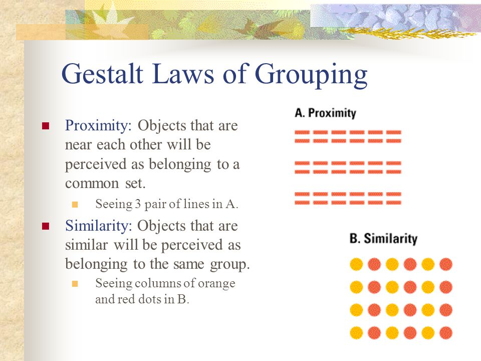 Gestalt Laws of Grouping Proximity: Objects that are near each other will be perceived as belonging to a common set. Seeing 3 pair of lines in A. Simi