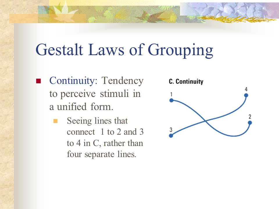 Gestalt Laws of Grouping Continuity: Tendency to perceive stimuli in a unified form. Seeing lines that connect 1 to 2 and 3 to 4 in C, rather than fou
