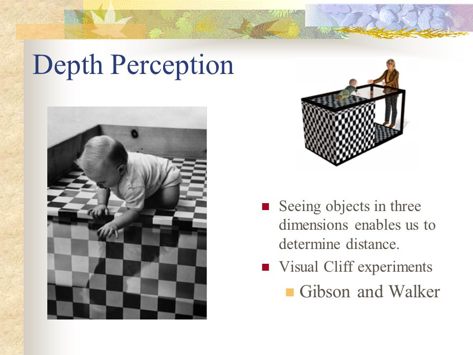 Depth Perception Seeing objects in three dimensions enables us to determine distance. Visual Cliff experiments Gibson and Walker
