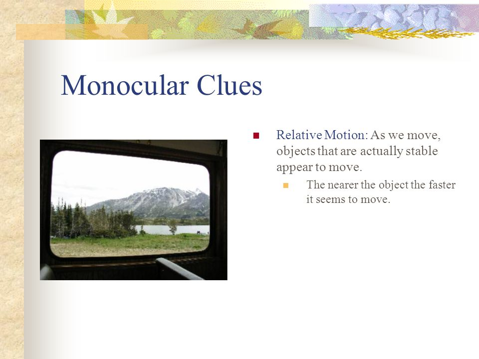 Monocular Clues Relative Motion: As we move, objects that are actually stable appear to move. The nearer the object the faster it seems to move.