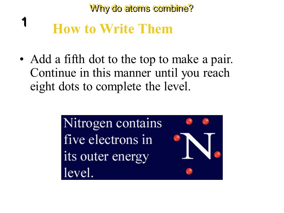 The dots are written in pairs on four sides of the element symbol. How to Write Them Why do atoms combine? 1 1 Start by writing one dot on the top of