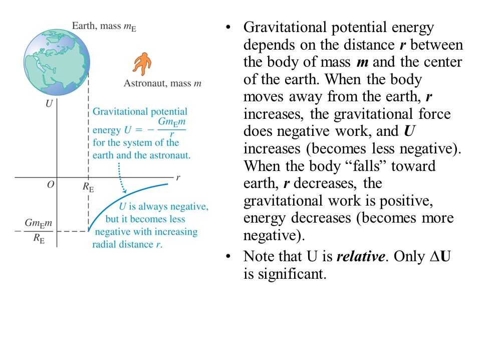 Gravitational potential energy depends on the distance r between the body of mass m and the center of the earth.