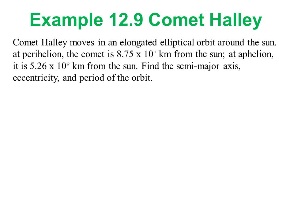 Example 12.9 Comet Halley Comet Halley moves in an elongated elliptical orbit around the sun.