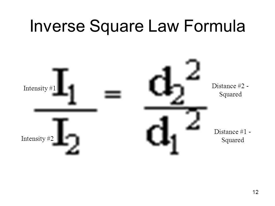 Inverse Square Law Formula Intensity #1 Intensity #2 Distance #2 - Squared Distance #1 - Squared 12