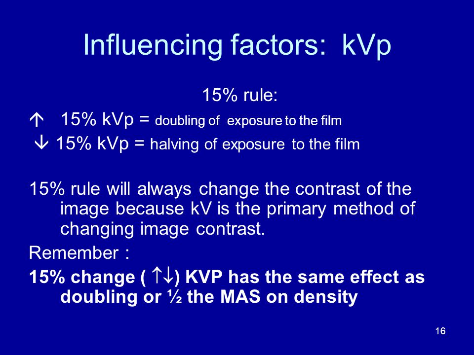 Influencing factors: kVp 15% rule:  15% kVp = doubling of exposure to the film  15% kVp = halving of exposure to the film 15% rule will always change the contrast of the image because kV is the primary method of changing image contrast.