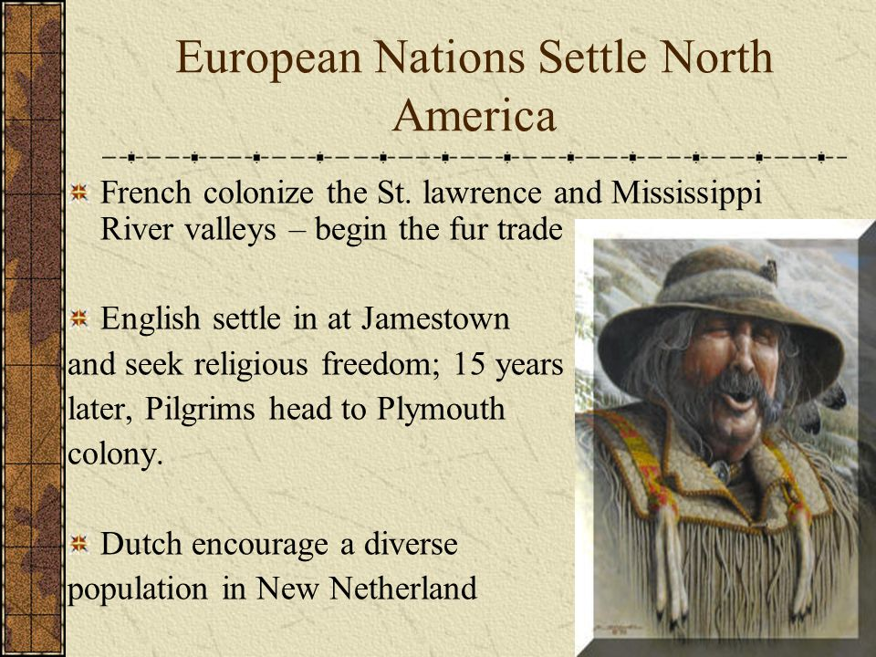 European Nations Settle North America French colonize the St.