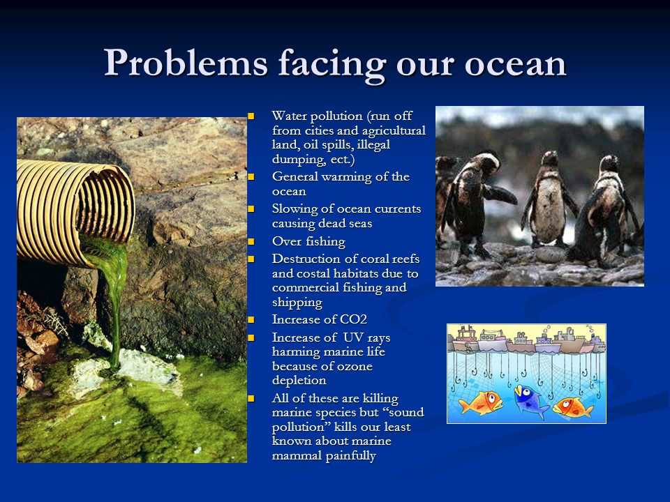 Problems facing our ocean Water pollution (run off from cities and agricultural land, oil spills, illegal dumping, ect.) Water pollution (run off from