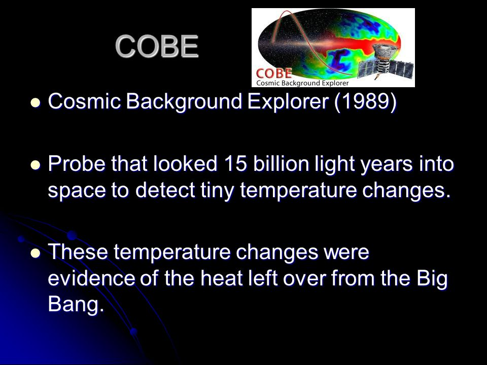 COBE Cosmic Background Explorer (1989) Cosmic Background Explorer (1989) Probe that looked 15 billion light years into space to detect tiny temperature changes.