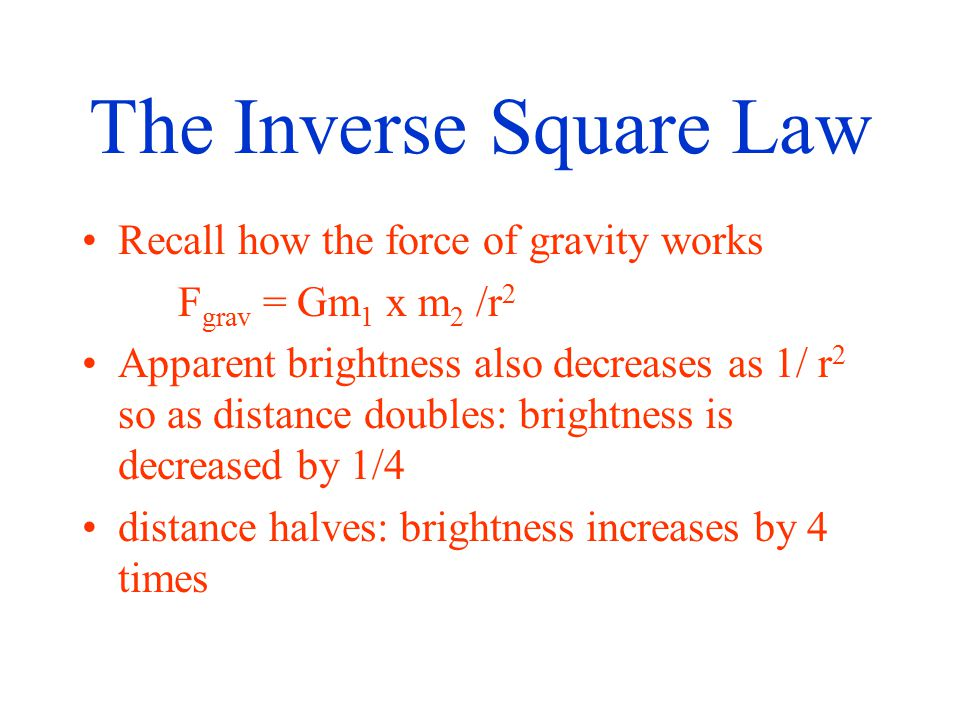 The Inverse Square Law Recall how the force of gravity works F grav = Gm 1 x m 2 /r 2 Apparent brightness also decreases as 1/ r 2 so as distance doubles: brightness is decreased by 1/4 distance halves: brightness increases by 4 times