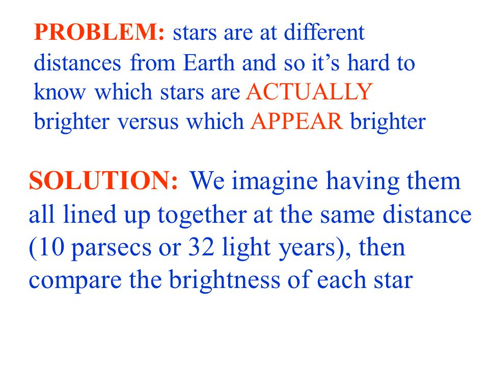 PROBLEM: stars are at different distances from Earth and so it's hard to know which stars are ACTUALLY brighter versus which APPEAR brighter SOLUTION: We imagine having them all lined up together at the same distance (10 parsecs or 32 light years), then compare the brightness of each star
