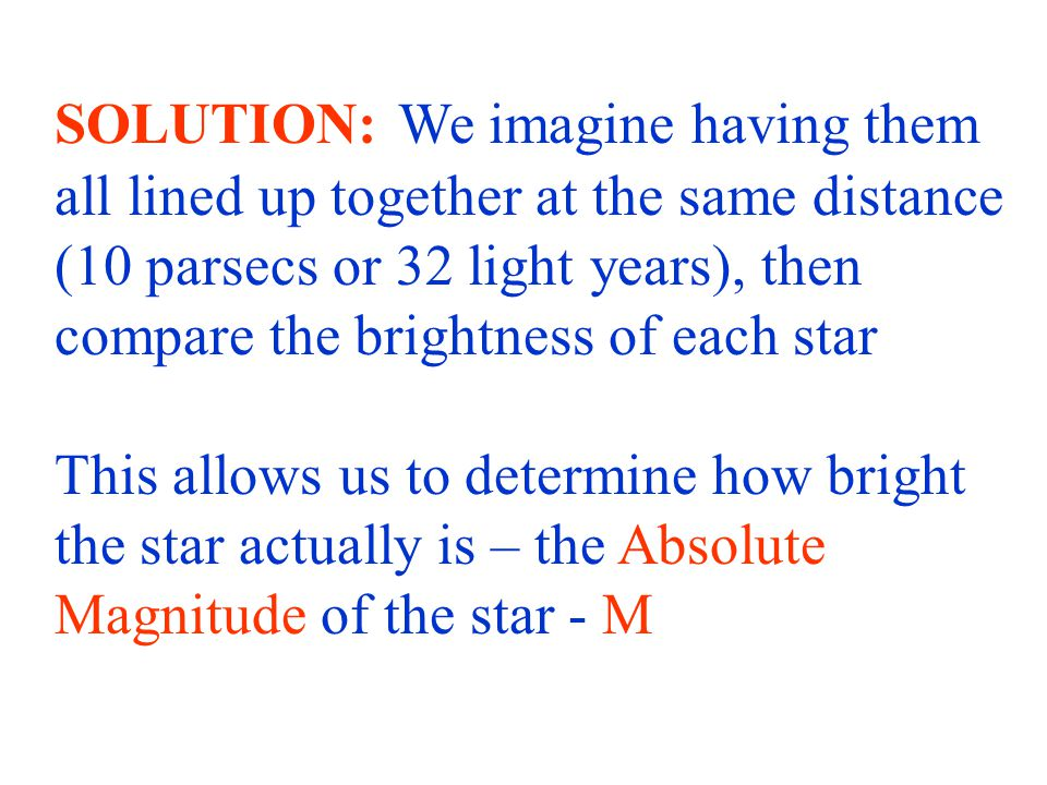 This allows us to determine how bright the star actually is – the Absolute Magnitude of the star - M