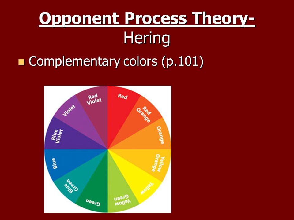 Opponent Process Theory- Hering Complementary colors (p.101) Complementary colors (p.101)