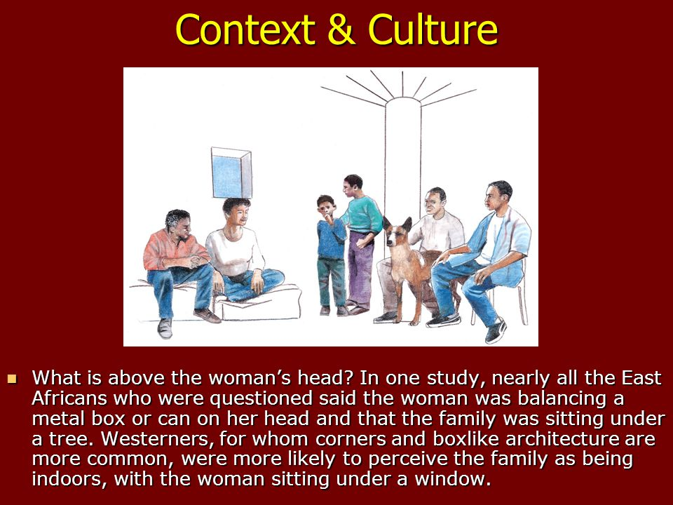Context & Culture What is above the woman's head.